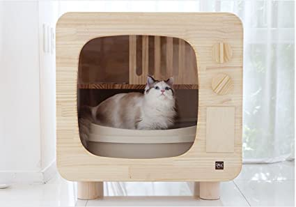 Amazon Com Premium Natural Wood Cat Litter Box Furniture Diy Cat
