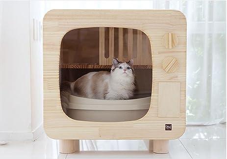 Premium Natural Wood Cat Litter Box Furniture DIY Cat Woody Litter Box  Hider TV Shape