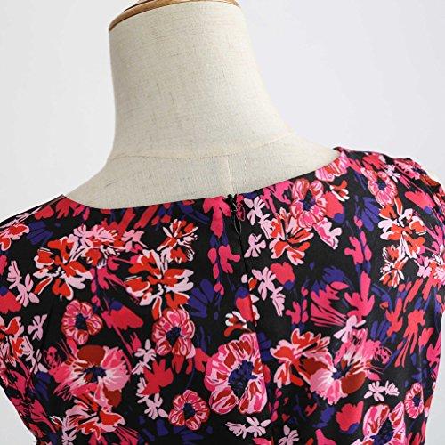 19 Jitong Per Vintage A Swing Festa Stile Da Vestiti Pieghe Line Stampato Abito 1950s Vestito Elegante Girocollo Donna gTUqrAgcw