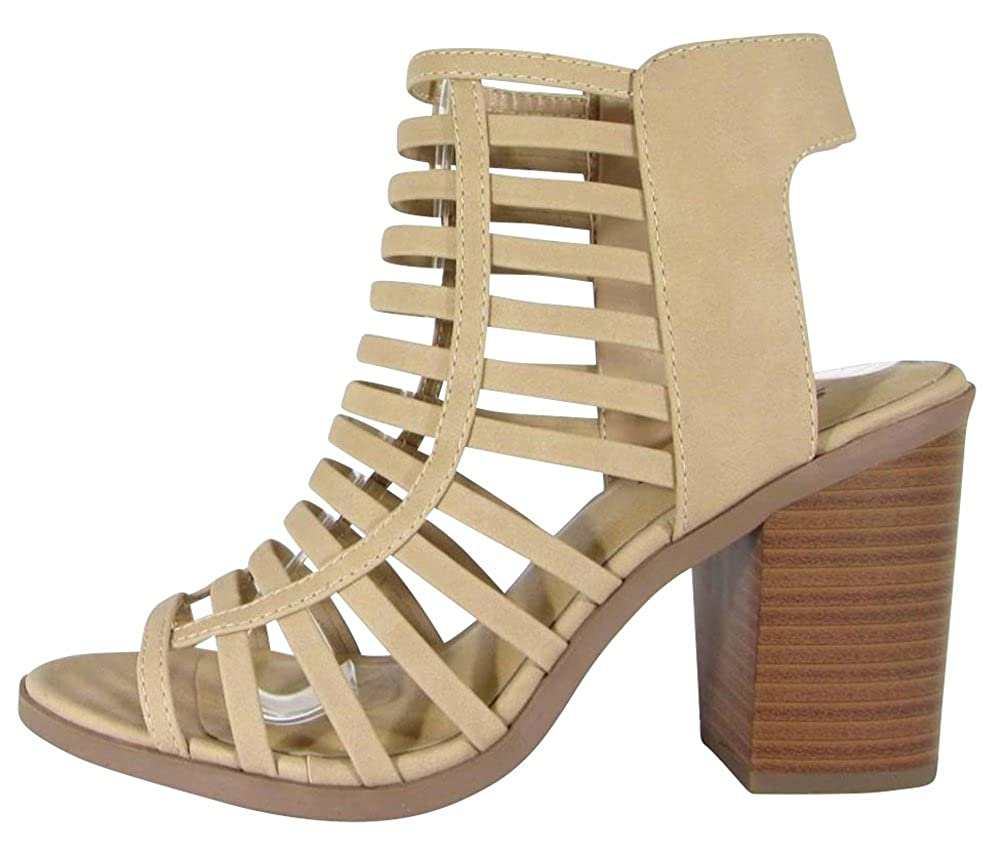 Natural Nbpu Cambridge Select Women's Open Toe Caged Cutout Strappy Chunky Stacked Block Heel Ankle Bootie