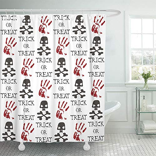 Emvency Shower Curtain Set Waterproof Adjustable Polyester Fabric Autumn Jolly Roger Blood Hands and Trick Treat Bones Calligraphy Celebration 72 x 72 Inches Set with Hooks for Bathroom ()