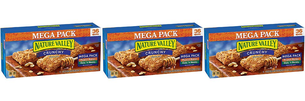 Nature Valley Granola Bars, Crunchy, Mega Pack of Peanut Butter and Oats 'n Honey, 36 Bars (3 Boxes)