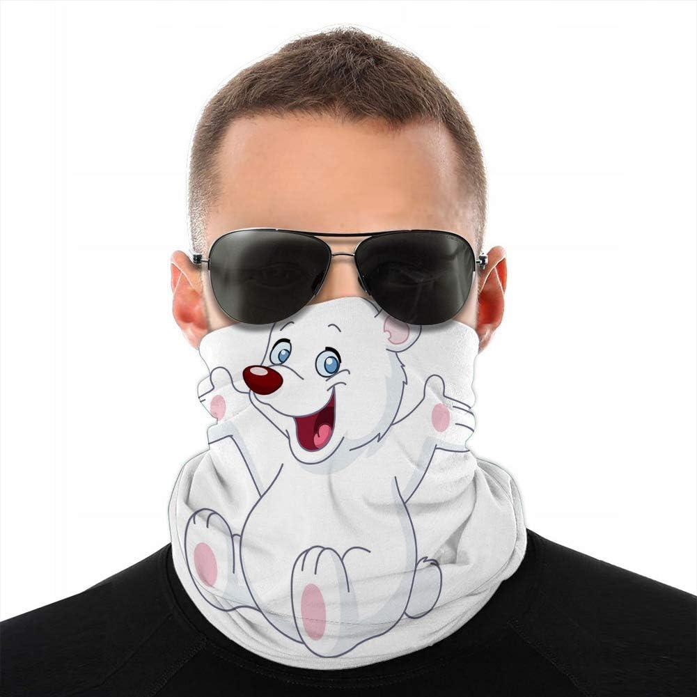 Xunulyn Cubierta de Cuello Polar Unisex Polainas Diadema Feliz Oso de Peluche Blanco Cubierta a Prueba de Viento