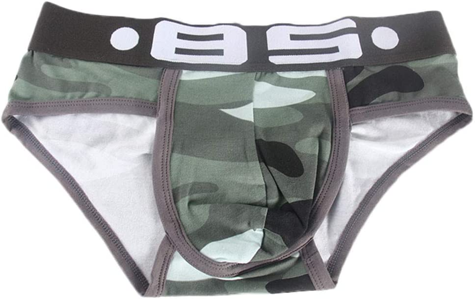 Fxbar,Personality Men/'s Camouflage Print Letter Pouch Underpants Breathable Elastic Sport Bikini Briefs Green,XXL