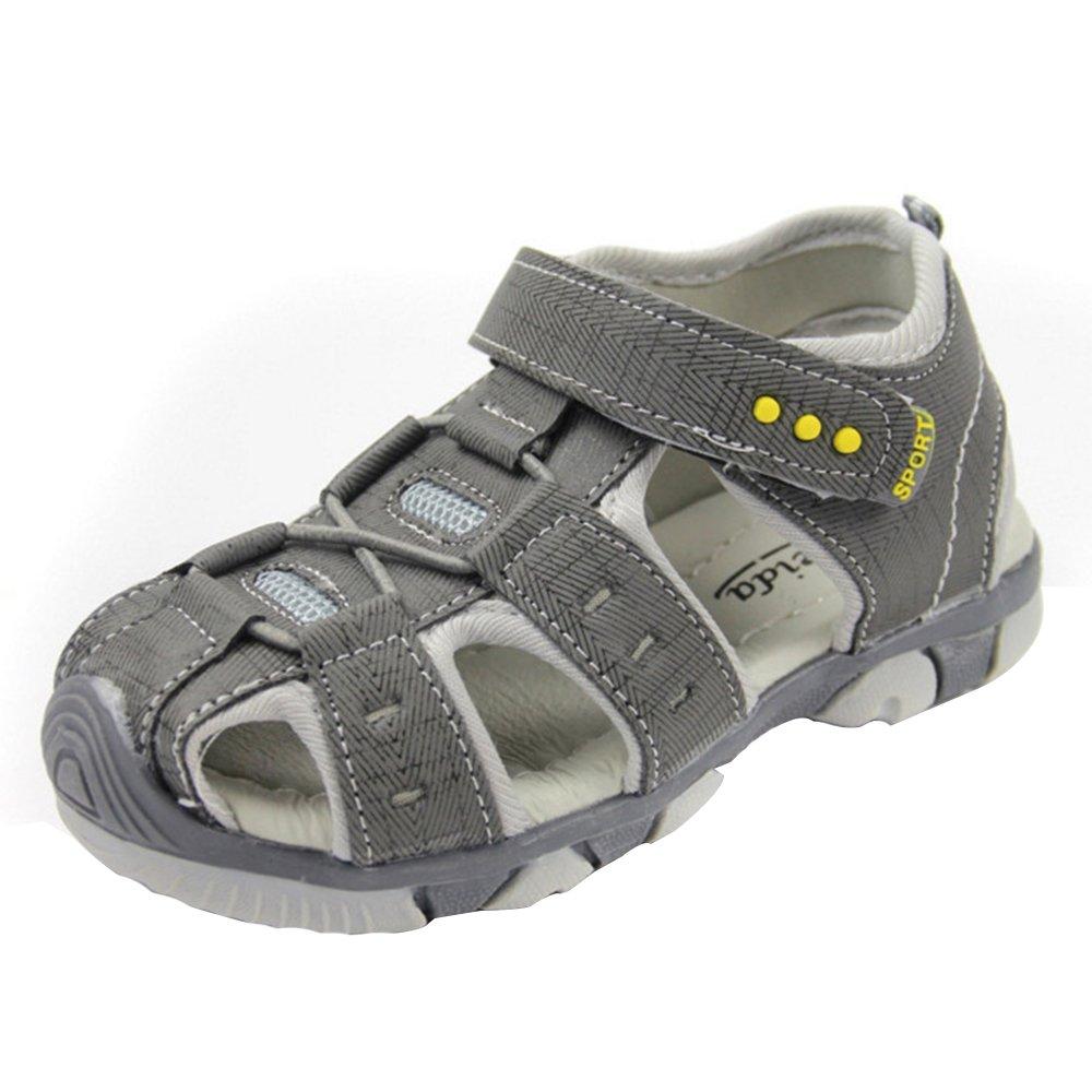 Vertvie Enfant Garçon Fille Été Sandales de Marche Extérieur Plates Souple Semelle Chaussures Sport Bout Fermé Tongs Antidérapant