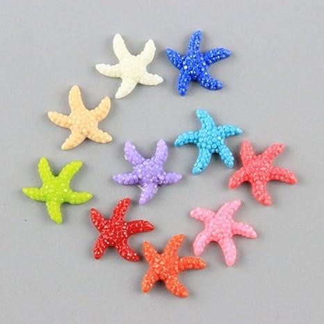 SDYDAY 5/20 Piezas de Resina Mini Estrella de mar Criatura Peces Acuario Adornos para