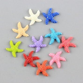SDYDAY 5/20 Piezas de Resina Mini Estrella de mar Criatura Peces Acuario Adornos para jarrón de Flores decoración de Playa Fiesta temática, 5 Piezas, ...