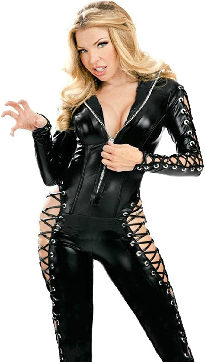 Women Bodycon Bodysuit Lace Up Detailed Full Length Catsuit Jumpsuit Romper
