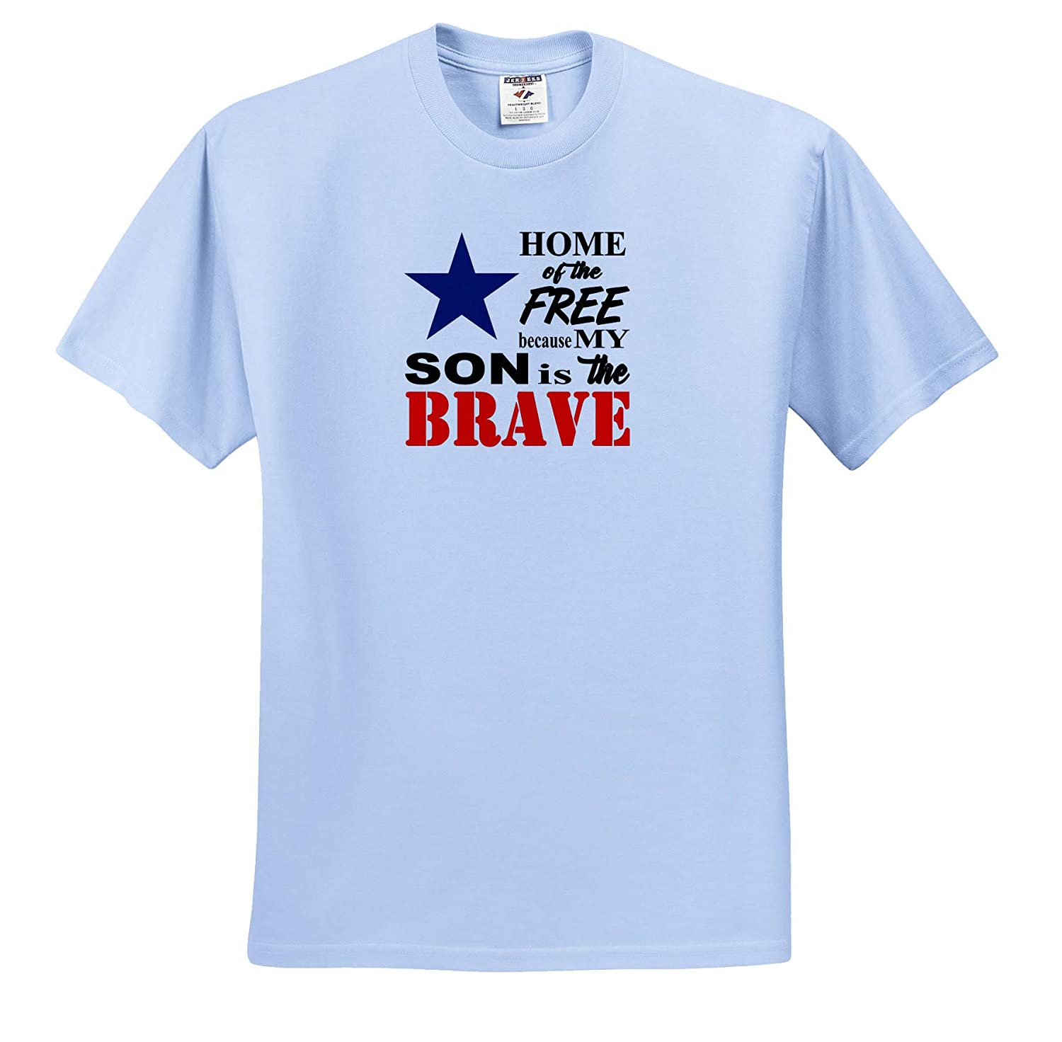 Home of The Free Because My Son is The Brave Quote Adult T-Shirt XL 3dRose Amanda Levermann ts/_319910 Quotes