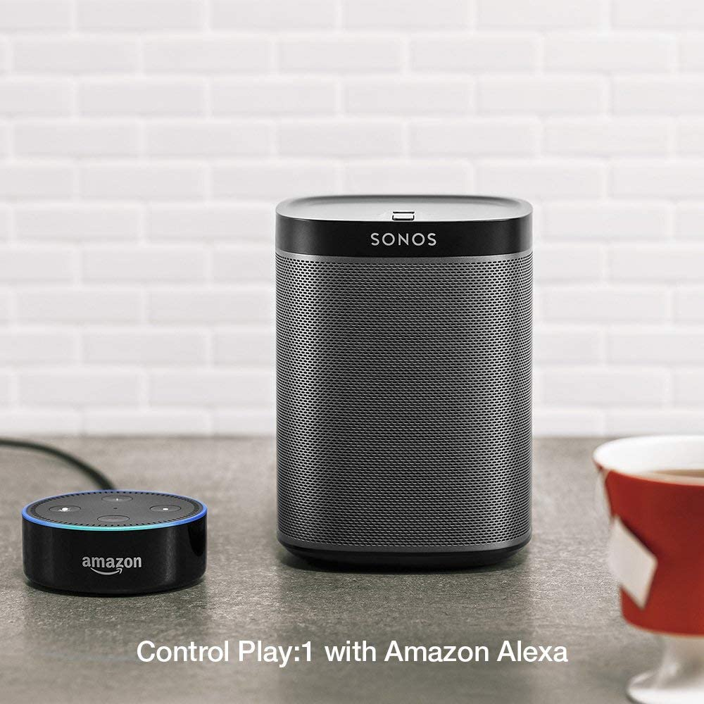 Black Sonos Play:1 Compact Wireless Speaker for Streaming Music Compatible with Alexa. Renewed