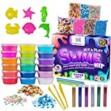 (US) NHOVA Slime Kit with Slime Supplies [18 Colors] - Make Your Own Clear Crystal Slime Craft - Science Kit for Girls and Boys Makes Glitter, Galaxy, Crunchy, Fruit, Fluffy Foam Beads DIY Starter Kit