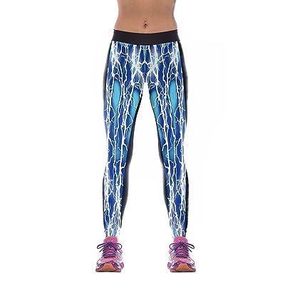 Femme éclair Imprimé Stretch Sport Yoga élasticité Leggings Minceur  Entraînement Collants Running Pantalon Bleu 85775f3597f
