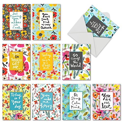 10 Inspirational Quote Cards with Envelopes (4 x 5.12 Inch) - Watercolor Inspiration Greeting Cards 'Words For Friends' - All Occasion Blank Cards with Flowers - Motivation, Bulk Box Set M6482OCBsl