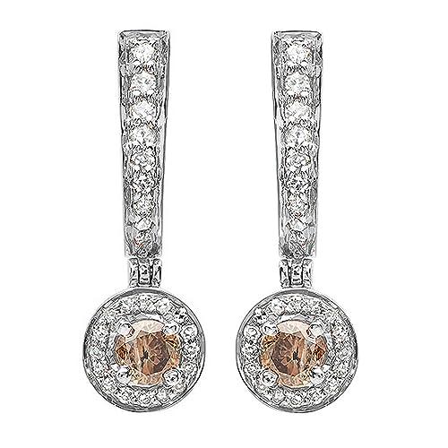 0.50 Carat (ctw) Gold Round Champagne & White Diamond Ladies Fine Dangling Drop Earrings 1/2...