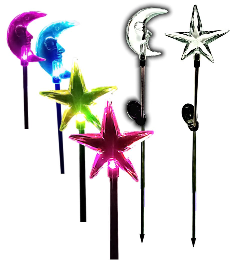 Brilliant & Mo Sparkling Star Solar Lights and Moon Solar Lights Garden Stakes light