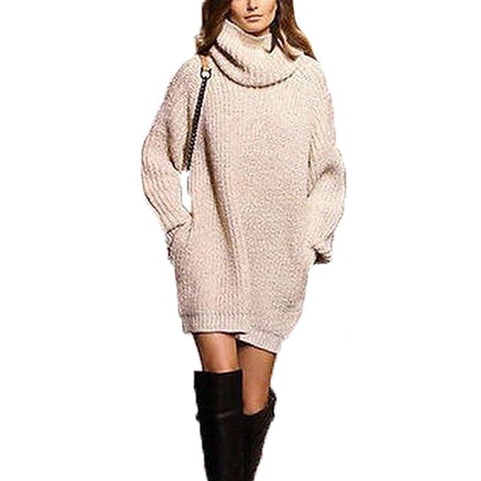 prezzo di fabbrica 80219 5b412 WanYang Donna Maglione Lungo Sexy Vestito Maniche Lunghe ...