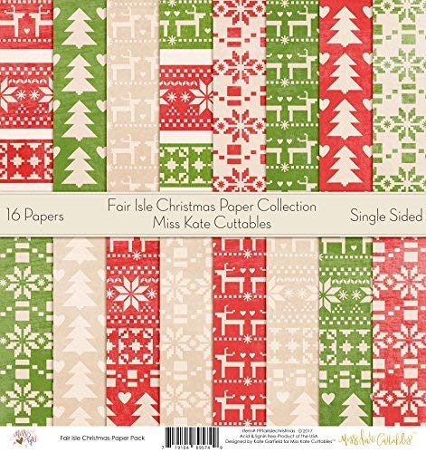 Pattern Paper Pack - Fair Isle Christmas - Scrapbook Premium Specialty Paper Single-Sided 12