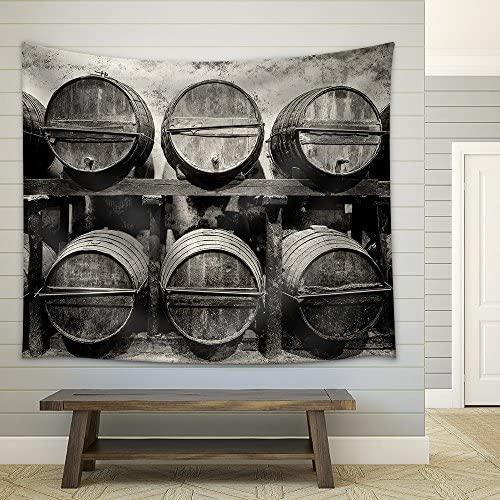 Barrels Stacked in The Winery in Black and White Fabric Wall
