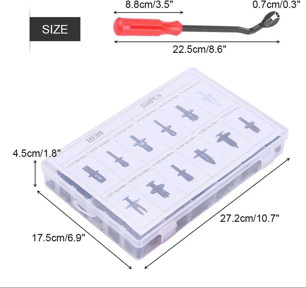 Qiilu 350pcs Clips Agrafe Rivets en Plastique Fixation de Protection pour Auto Voitures//Panneaux de Portes et Outil D/émontage Installation avec Bo/îtier de Rangement