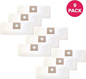 """Crucial Vacuum Replacement Vac Bags Part # 9066700 - Compatible with Shop Vac Type A Models - Bag Measures 9.5"""" X 7.3"""" X 1.2"""" Inches - 1.5 Gallon for Wet, Dry Vacs, Vacuums - Bulk Packs (9 Pack)"""