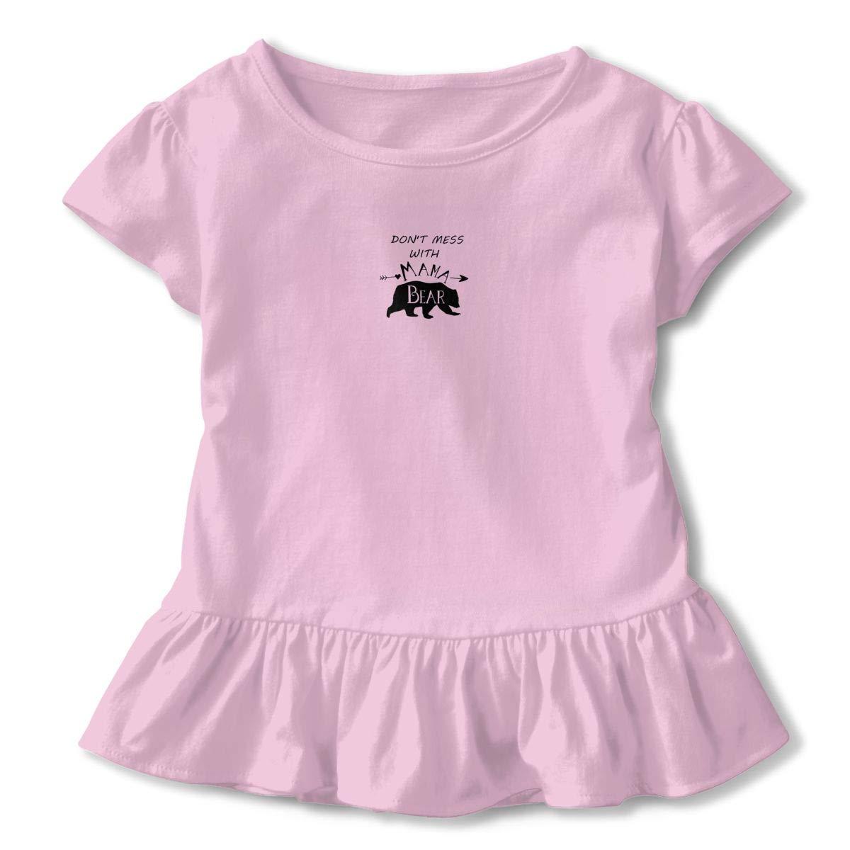 Dont Mess Mama Bear Toddler Baby Girl Basic Printed Ruffle Short Sleeve Cotton T Shirts Tops Tee Clothes Pink