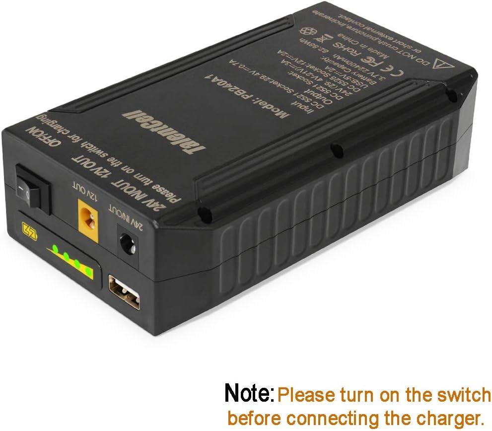 TalentCell Power Bank Batería Externa 24/12/5V Batería de Ion de Litio Recargable 82.88Wh 22400mAh con Cargador para Tiras de Luz LED Cámaras CCTV etc Negro