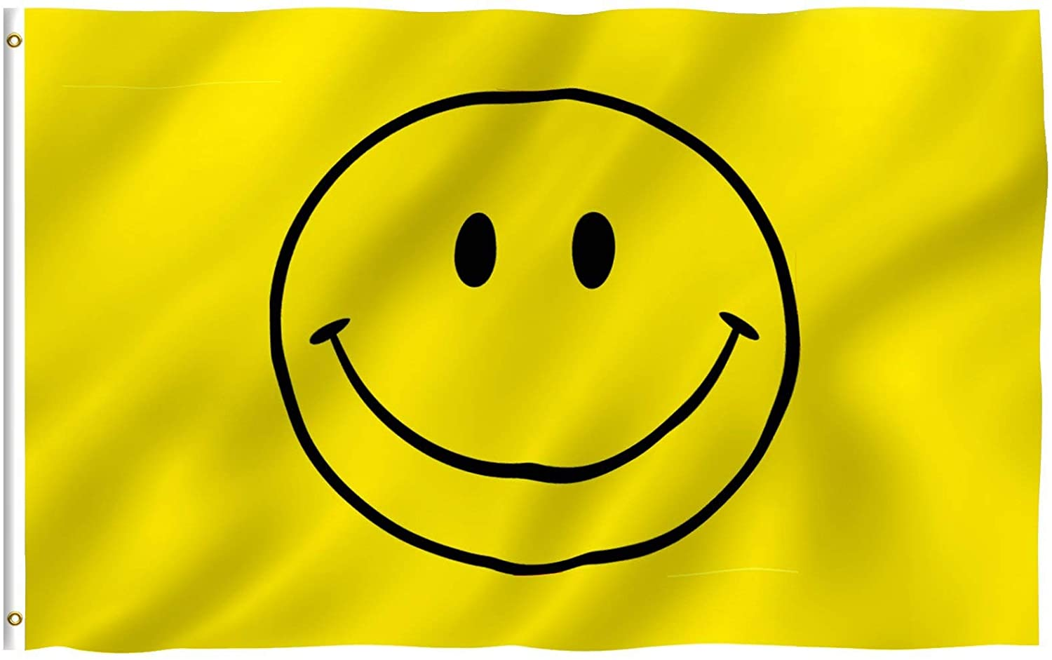 Anley Fly Breeze 3x5 Foot Yellow Smiley Face Flag - Vivid Color and Fade Proof - Canvas Header and Double Stitched - Happy Face Flags Polyester with Brass Grommets 3 X 5 Ft