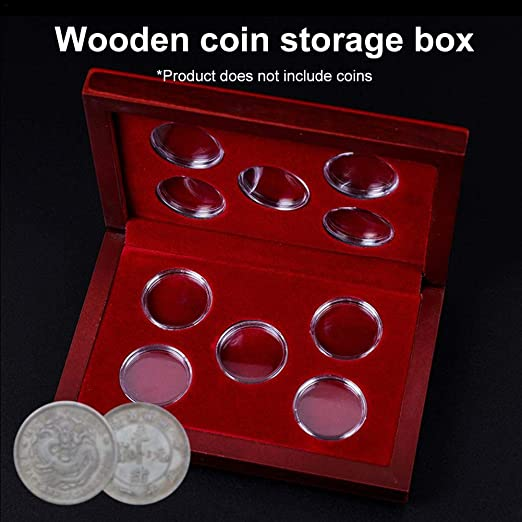 miju - 10 Cajas para Monedas de Madera, Soporte para Monedas, Soporte para Monedas, Soporte para Monedas, Caja organizadora para la colección de Monedas, Accesorio Universal: Amazon.es: Hogar