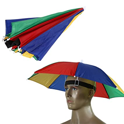 Demiawaking Sombrero Sombrilla Elástico Paraguas de Cabeza para Golf Pesca Campamento (Corteza de sandía)