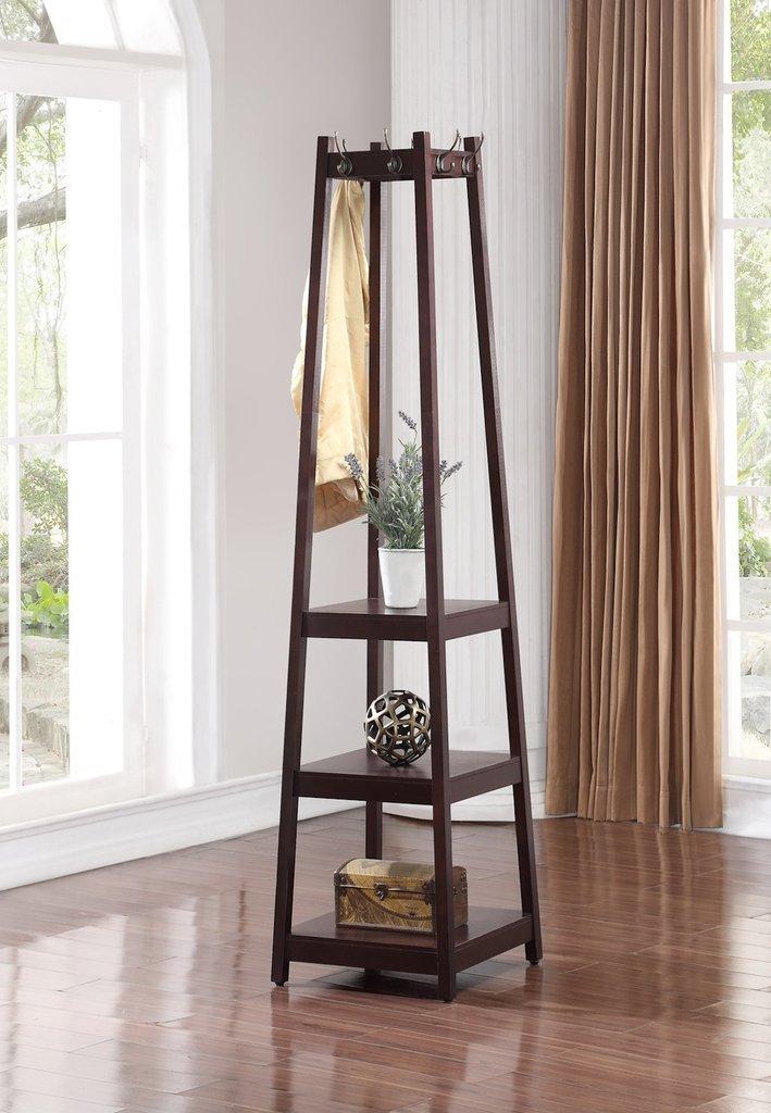 Legacy Decor 8 Hook, 3 Tier Shelves Garment Coat Hat Rack Hanger, Wooden Espresso Finish