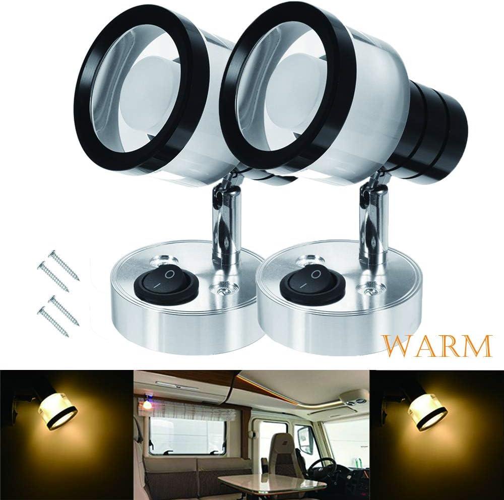 Warm MASO 2X 12V LED Interior Reading Light Wall Spot Lights for Van Caravan Boat Motorhome Bedroom Lighting