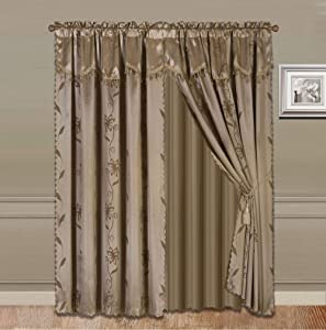 """2 Panel Window Curtain Set (120"""" W x 84"""" L) with Valance and Sheer Backing and 2 Tassels - Faux Silk Shiny Curtain Set - Rod Pocket Drapes - Leaf Floral Design Curtain - Taupe"""