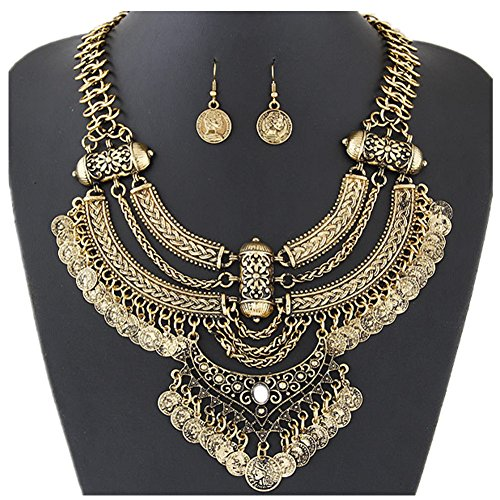truecharms Fashion Jewelry Set Choker Necklace And Earrings Coin Statement For Wedding Bridal Party Prom (Gold)
