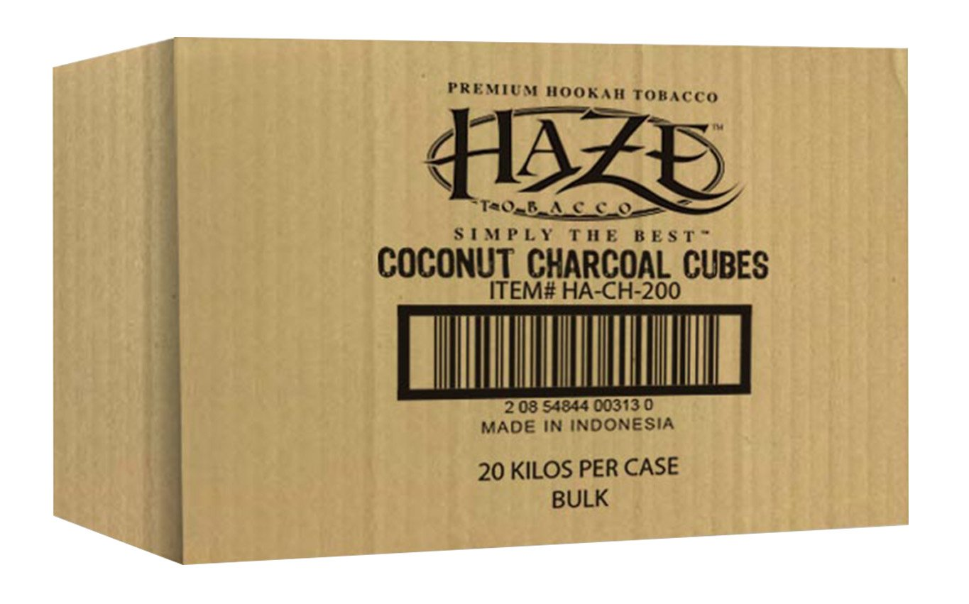 HAZE CUBE COCONUT CHARCOAL SUPPLIES FOR HOOKAHS – 72pc (1kg) or 1440pc (20kg) Non-quick light shisha coals for hookah pipes. All-natural coal accessories that are Tasteless, Odorless, & Chemic (1440)