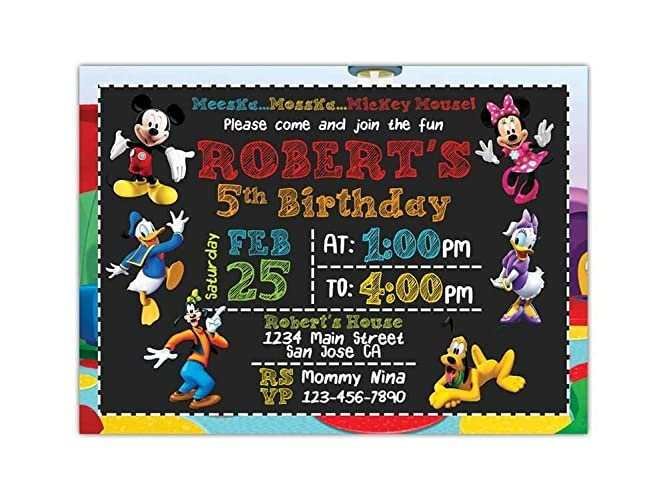 Custom Mickey Mouse Birthday Party Invitations For Kids 10pc 60pc 4x6 Or 5x7 Cards With White Envelopes Printed On Premium 265gsm Card Stock