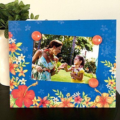 Tropical Flower Vacation - Magnetic Picture Frame Handmade Gift Present Home Decor by Frame A Memory Size 9 x 11 Holds 5 x 7 Photo