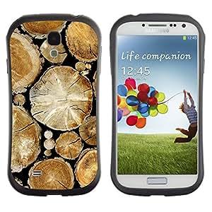 All-Round híbrido de goma duro caso cubierta protectora Accesorio Generación-I BY RAYDREAMMM - Samsung Galaxy S4 I9500 - Wood Pile Cut Trees Rainforest Nature
