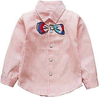 AIKSSOO Toddler Boys Striped Shirt Casual Cartoon Long Sleeve Button Down Shirt
