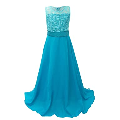 08629fbc12b5d Discoball fille mousseline Fleurs Fond longue robe - Bleu - 10-11 ...