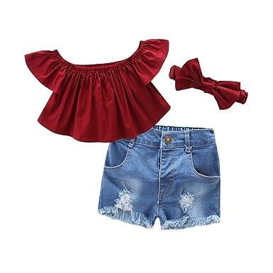Wongfon Mädchen Schulterfrei Tops Kurzarm T-Shirt + Zerrissene Jeans Shorts + Stirnband 3 Stück Kleidung Outfit für 1-7 Jahre