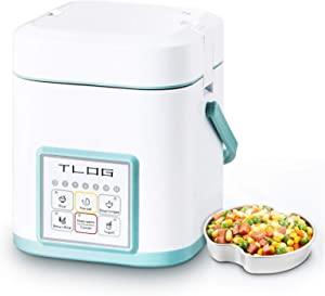 TLOG Mini Rice Cooker, 2 Cups Uncooked (0.6L) Portable Rice Cooker, Food Steamer, Travel Rice Cooker Small, Personal Rice Cooker for 1-2 People, Multi-cooker for Brown Rice, White Rice, Soup,Keep Warm