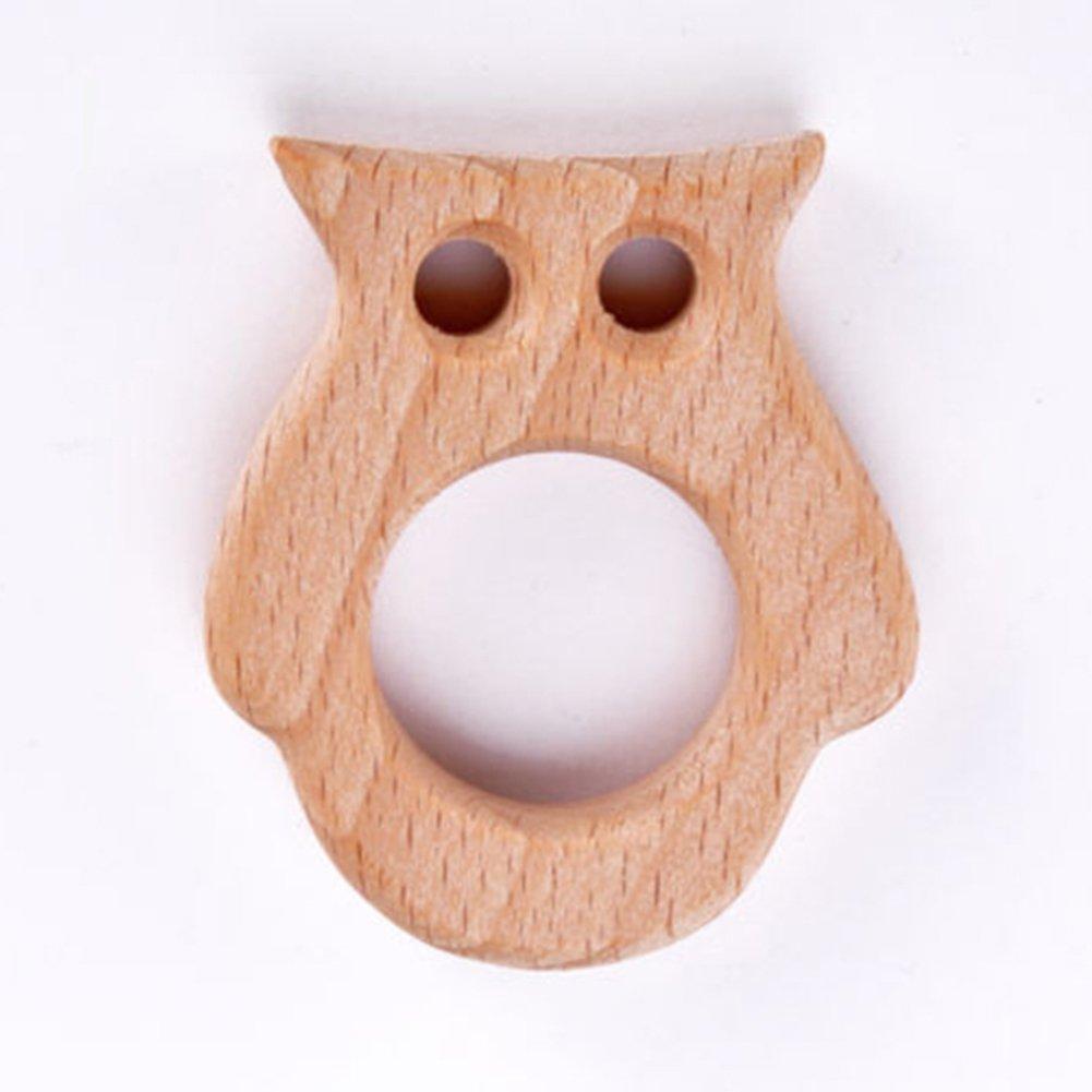 AchidistviQ Safe Natural Wooden Animal Shape Ring Baby Boy Girl Teether Teething Shower Toy -elephant