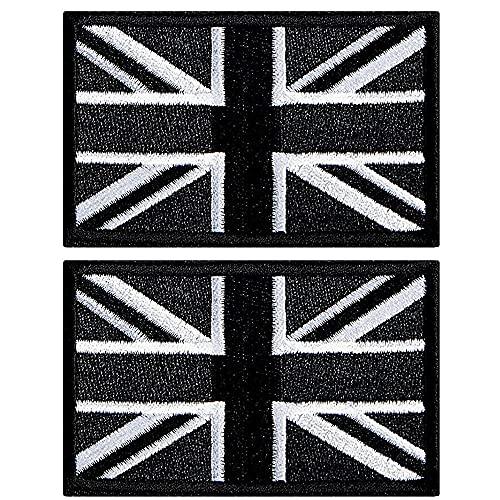 AXEN British Union Jack Velcro Patch Black United Kingdom Flag Patch British Union Patches Tactical Patches Hook and Loop Applique for Military Uniform Tactical Bag Jacket Jeans Hat, 2pcs