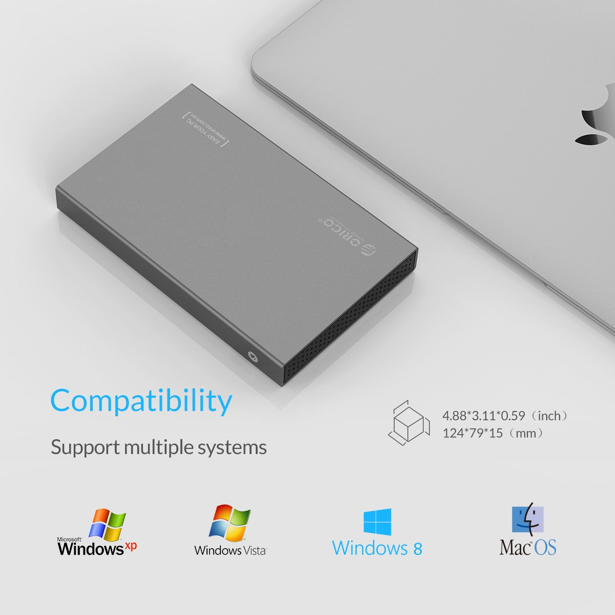 Aluminio Libre de Herramientas para HDD//SSD de 7//9,5mm,Soporta UASP Plata Carcasa para Discos Duros HDD de 2.5, indicador LED ORICO SATA I//II//III, USB 3.0