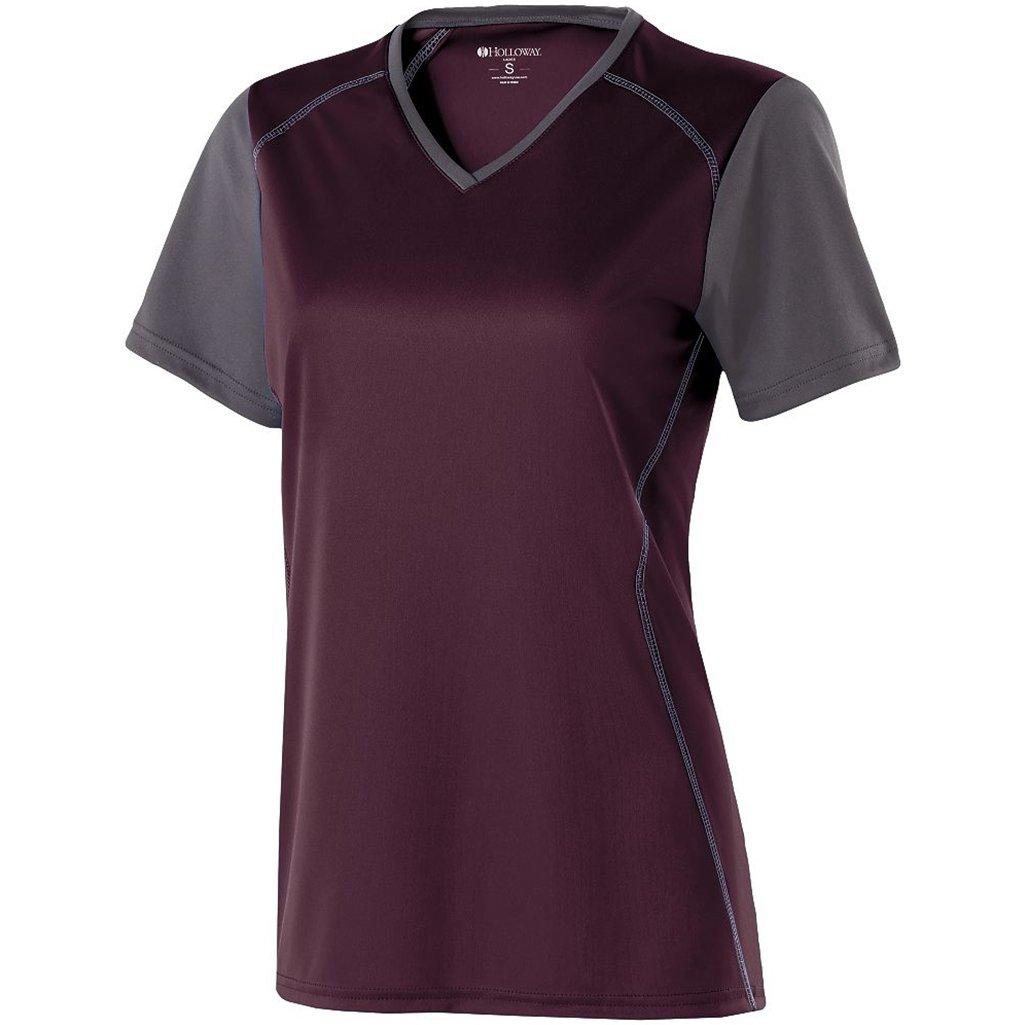 Holloway Ladies Piston Dry-Excel Shirt (X-Small, Dark Maroon/Carbon)