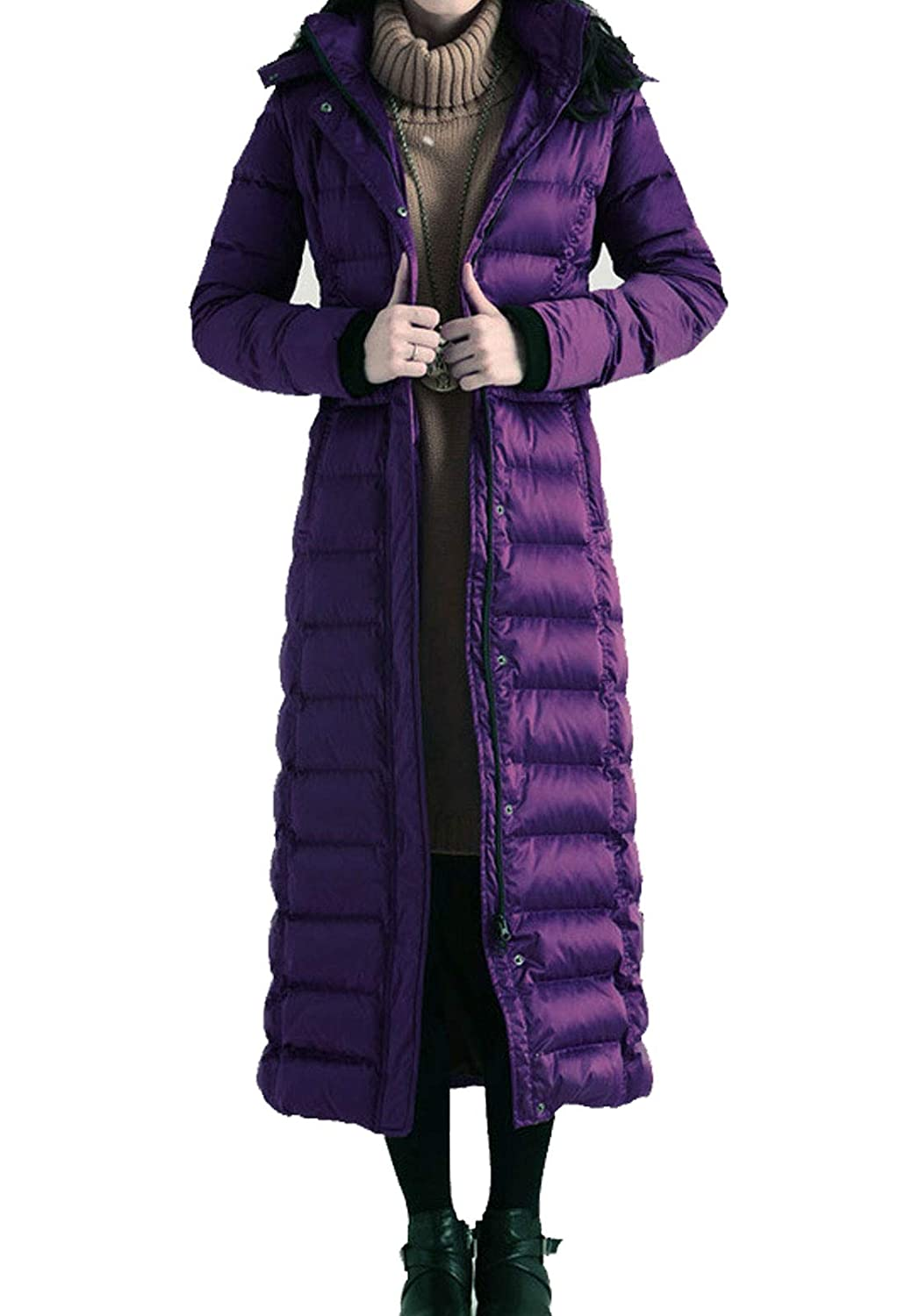 Purple(no Faux Fur Collar) Flygo Women's Winter Thicken Hooded Maxi Down Coat Removable Faux Fur Collar