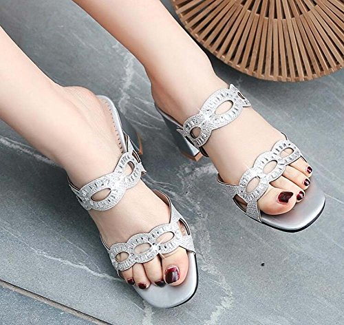 MHX Sandals Square Size Women's Cool New Shoes Out Summer Silver Rhinestones Hollow Slippers ffrPnqF6