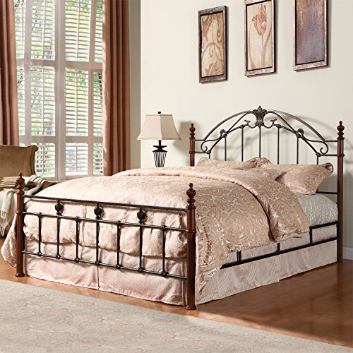 - Metro Shop TRIBECCA HOME Newcastle Graceful Scroll Bronze Iron Queen-sized Poster Bed-Newcastle Queen Cast-Iron Metal Bed