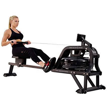 Sunny Health & Fitness Water Rowing Machine Rower + R2 LCD Monitor: Time,  Time/500M, Distance, Strokes, Total Strokes, Calories Burned and Scan with