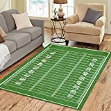 InterestPrint Green American Football Field Area Rug 7 x 5 Feet, Popular Sport Football Modern Carpet Floor Rugs Mat for Children Kids Home Dining Room Playroom Indoor Decoration